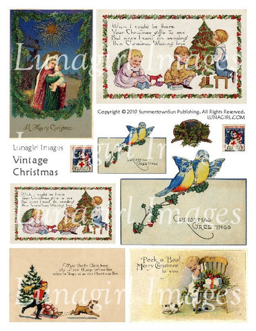 Vintage Christmas Digital Collage Sheet - Lunagirl
