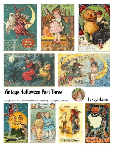 Vintage Halloween #3 Digital Collage Sheet - Lunagirl