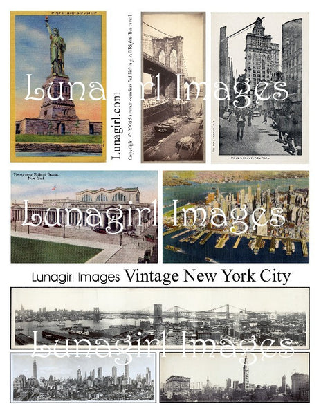 vintage postcards New York City retro images digital download collage sheet photos