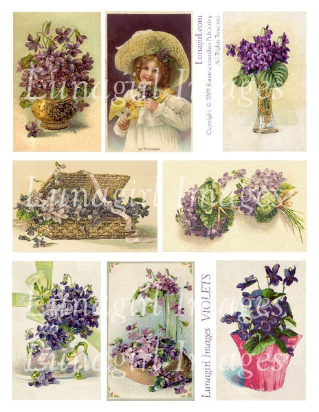 Violets Digital Collage Sheet - Lunagirl