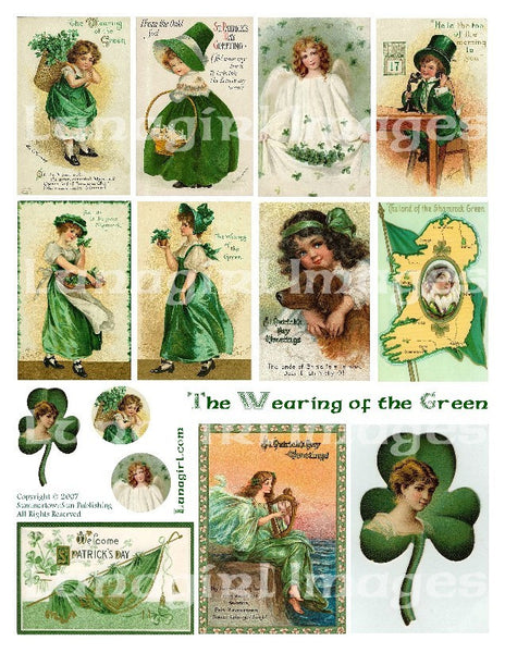 Wearing of the Green Digital Collage Sheet - Lunagirl