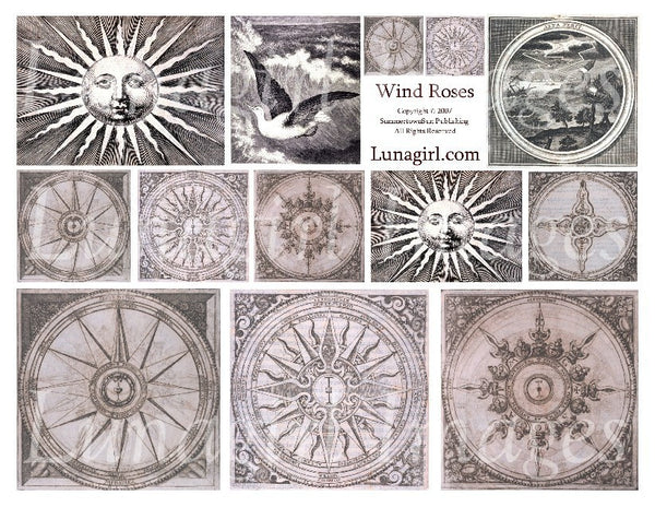 Wind Roses Compasses (Pink) Digital Collage Sheet - Lunagirl