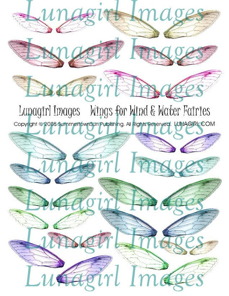 Wings for Wind & Water Fairies Digital Collage Sheet - Lunagirl