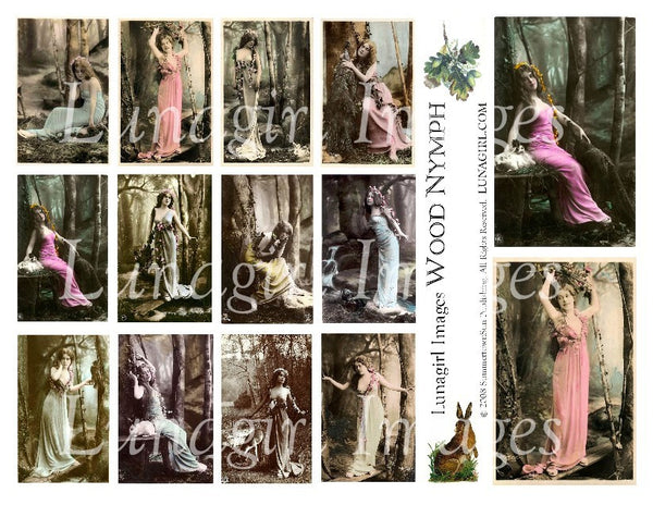 Wood Nymph Nature Goddess Digital Collage Sheet - Lunagirl