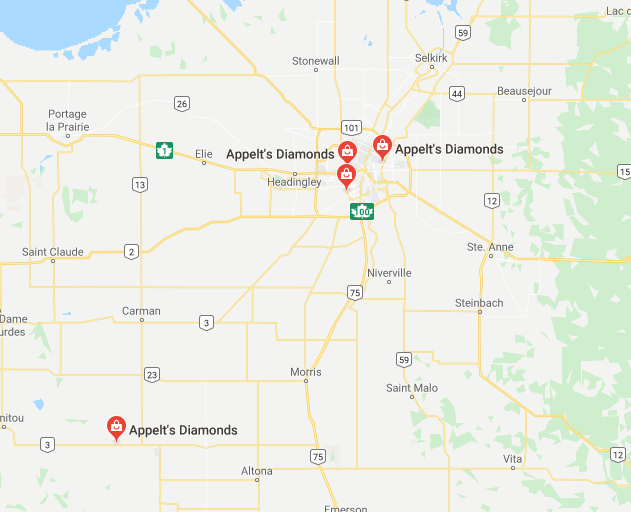Map of All Appelt's Diamonds locations