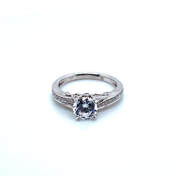 ROMAN & JULES 14K WHITE GOLD SPLIT SHANK ENGAGEMENT RING