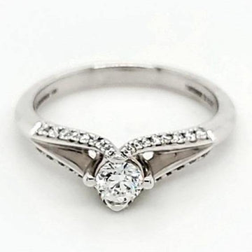 Zeghani 14K White Gold 0.28 Diamond Solitaire Engagement Ring