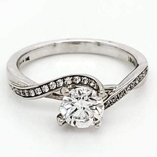 Zeghani 14K White Gold 0.71 Diamond Solitaire Engagement Ring