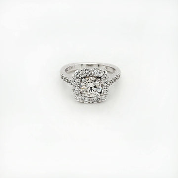 Black Label 14K White Gold 1.01 Round Diamond Solitaire with Halo Engagement Ring