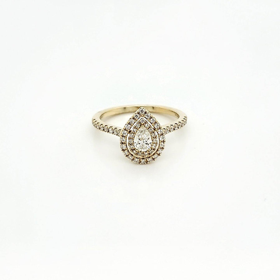 Zeghani 14K Yellow Gold 0.23 Pear Diamond Solitaire with Halo Engagement Ring