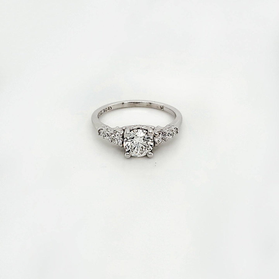 Black Label 14K White Gold 0.80 Round Diamond Solitaire Engagement Ring