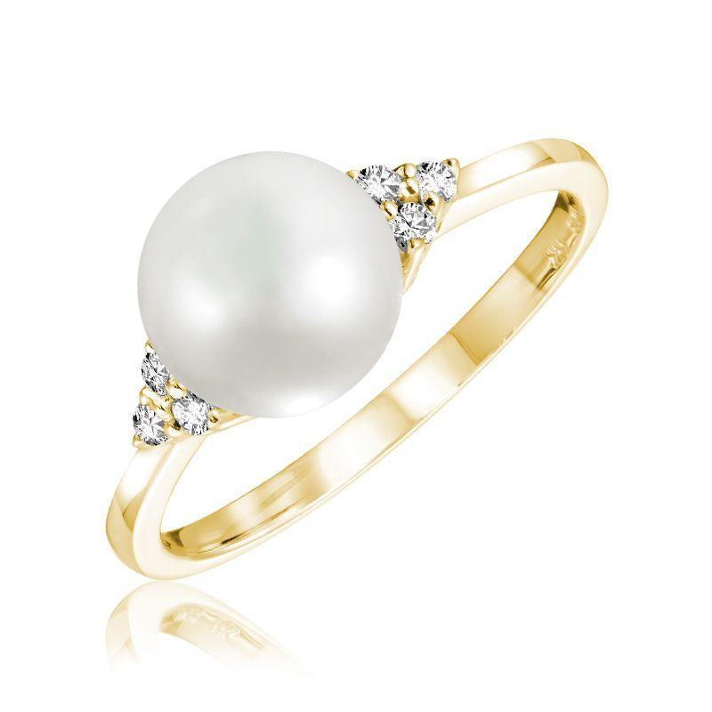 RNB 14K GOLD WHITE PEARL DIAMOND RING