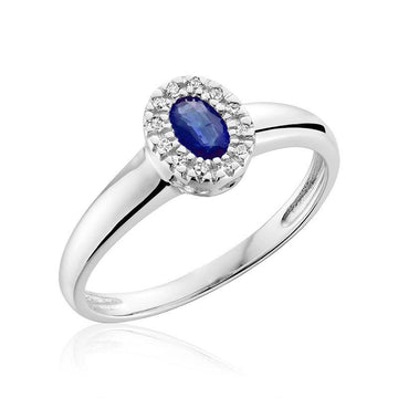 RNB 10K WHITE GOLD BLUE SAPPHIRE DIAMOND HALO RING