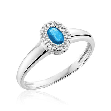 RNB 10K WHITE GOLD BLUE TOPAZ DIAMOND HALO RING