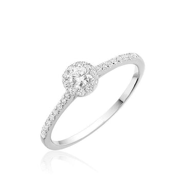 10K GOLD ROUND DIAMOND HALO ENGAGEMENT RING