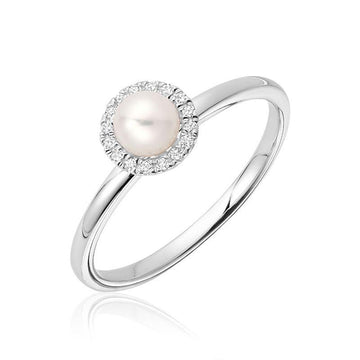 RNB 10K GOLD WHITE PEARL DIAMOND HALO RING