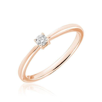 RNB 10K ROSE GOLD 0.15 ROUND DIAMOND SOLITAIRE RING