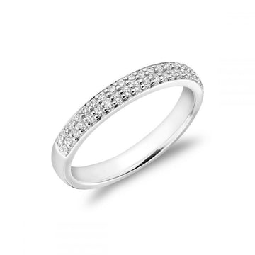 RNB 14K WHITE GOLD 0.50CTW PAVE DIAMOND SEMI ETERNITY RING
