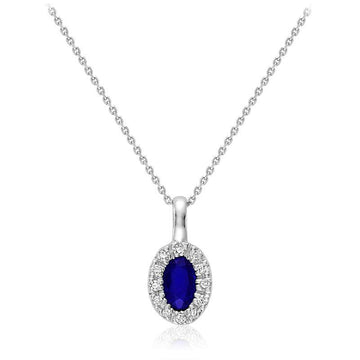 RNB 10K WHITE GOLD BLUE SAPPHIRE DIAMOND HALO NECKLACE