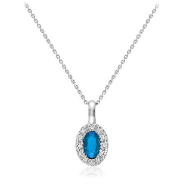 RNB 10K WHITE GOLD BLUE TOPAZ DIAMOND HALO NECKLACE