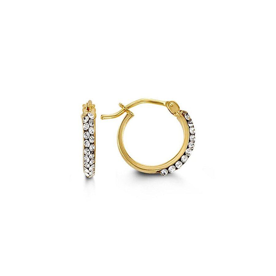 10K YELLOW GOLD CZ HUGGIE EARRINGS