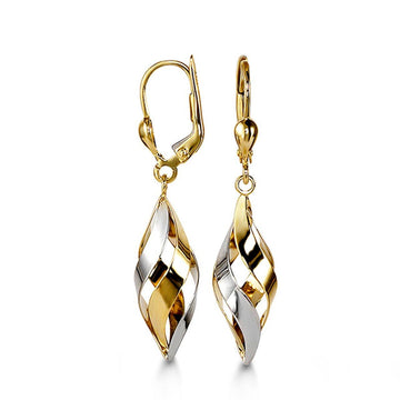 BELLA 10K YELLOW AND WHITE GOLD TWIST DANGLE EARRINGS