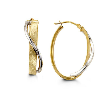 BELLA 10K YELLOW AND WHITE GOLD OVAL FANCY HOOP EARRINGS