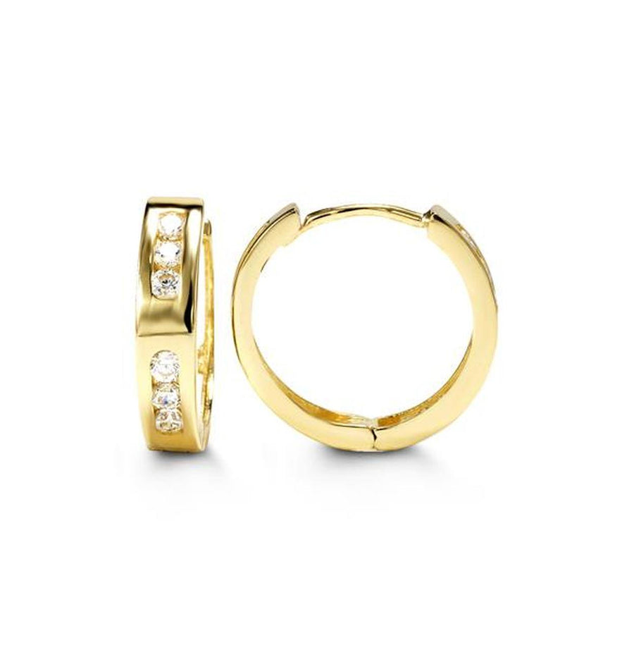 10K YELLOW GOLD CZ HUGGIE EARRINGS - Appelt's Diamonds