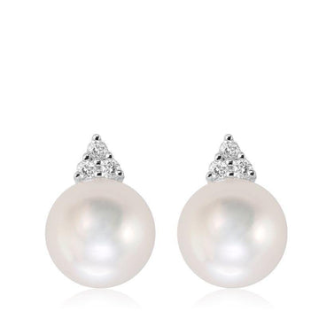 RNB 14K GOLD WHITE PEARL DIAMOND EARRINGS