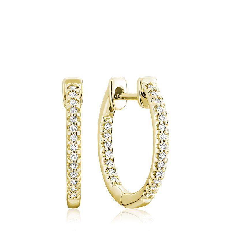 RNB 10K GOLD 0.16CTW DIAMOND INSIDE OUT HOOP EARRINGS