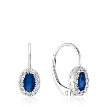 RNB 10KW WHITE GOLD BLUE SAPPHIRE DIAMOND HALO EARRINGS