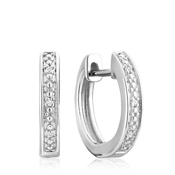 RNB 10K GOLD DIAMOND HUGGIE EARRINGS