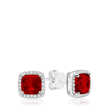 RNB 10K WHITE GOLD EARRINGS DIAMOND & COLOUR STONE STUD - Appelt's Diamonds