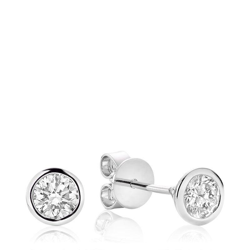 RNB 10K GOLD 0.15CTW DIAMOND BEZEL STUD EARRINGS