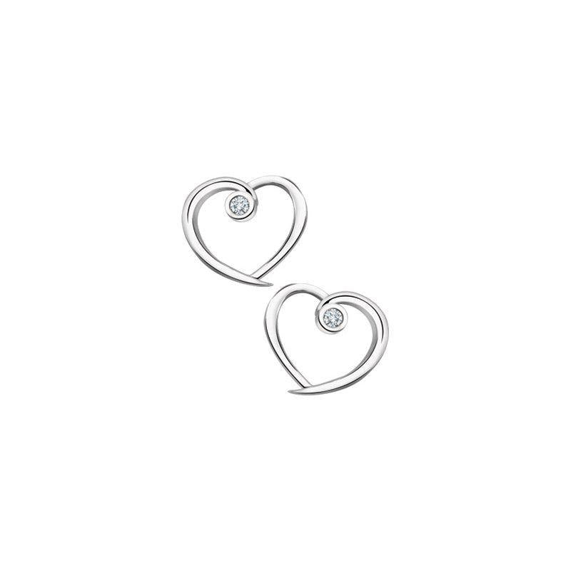 FOREVER JEWELLERY 10K WHITE GOLD DIAMOND HEART STUD EARRINGS