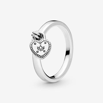 PANDORA HEART-SHAPED PADLOCK RING