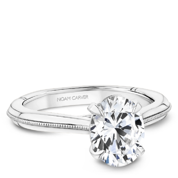NOAM CARVER ATELIER 18K WHITE GOLD OVAL ENGAGEMENT RING