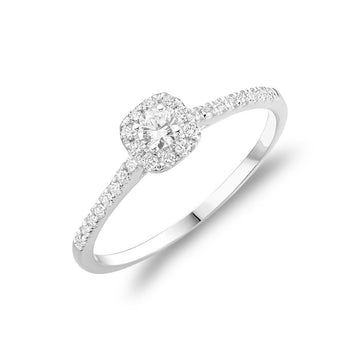 10K GOLD & DIAMOND CUSHION ENGAGEMENT RING