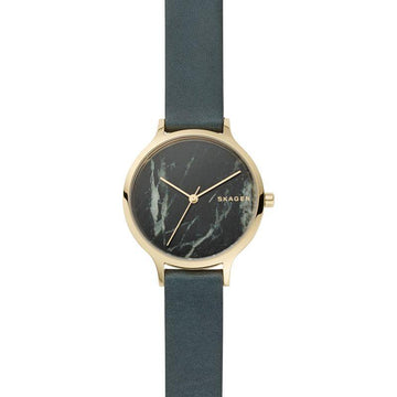 SKAGEN ANITA GREEN LEATHER WATCH