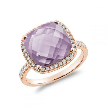 14K ROSE GOLD DIAMOND & PINK AMETHYST STONE HALO ENGAGEMENT RING