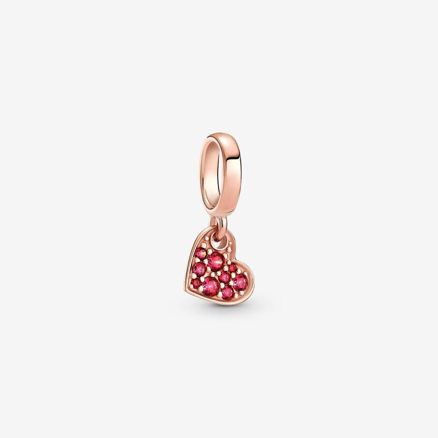 PANDORA ROSE RED PAVE TILTED HEART DANGLE CHARM - Appelt's Diamonds