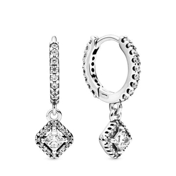 PANDORA SQUARE SPARKLE HOOP EARRINGS