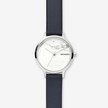 SKAGEN ANITA BLUE LEATHER STONE WATCH
