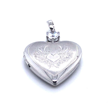 SILVER HEART PATTERN CZ LOCKET PENDANT