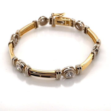 14K YELLOW & WHITE GOLD DIAMOND BRACELET