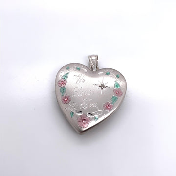 SILVER HEART LOCKET WITH DIAMOND PENDANT