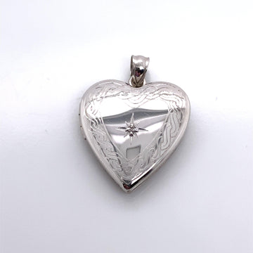 BRAIDED HEART LOCKET WITH DIAMOND