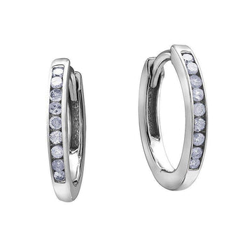 FOREVER JEWELLERY 10K WHITE GOLD DIAMOND HUGGIE EARRINGS - Appelt's Diamonds