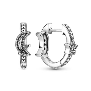 PANDORA CRESCENT MOON & STARS BEADED HOOP EARRINGS