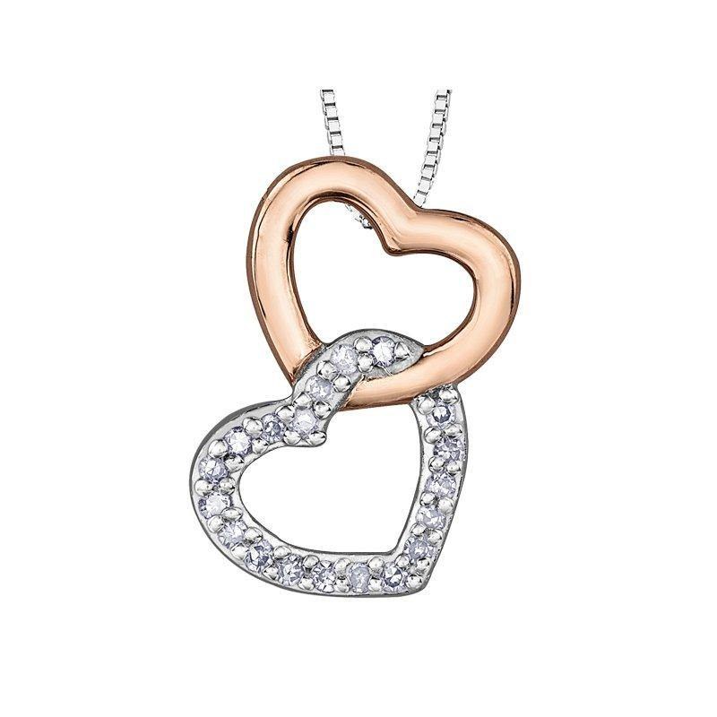 FOREVER JEWELLERY 10K ROSE AND WHITE GOLD 2 INTERLOCKING HEARTS DIAMOND NECKLACE